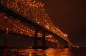 Mississippi River Bridge at night, Night Photography