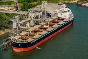 Aerial Photography, Loading Soy onto Ship