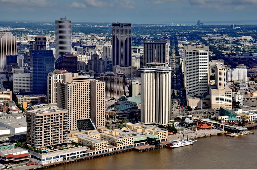 Stanwycks Photography, New Orleans Sky line from the river, as photographed from a Helicopter